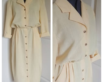 Vintage 1980s button up yellow Shirtwaist dress sz 12