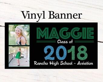 Graduation Class of 2018 Photo Banner ~ Congrats Grad Personalize Party Banners -School Colors Graduation Large Banner