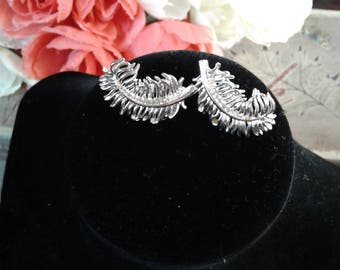 Vintage Coro Silver Leaf Clip Earrings