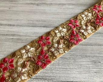 Beige Sari Fabric Trim-Pink Floral Embroidered Net Fabric Trim-Silk Sari Border-Quilt, Table Runner, Handbags Fabric-Silk Fabric Trim