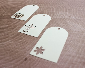 Cream Holiday Gift Tags - Snowman, Snowflake, Present - Non Denominational Gift Tags - Non-Demoninational Present