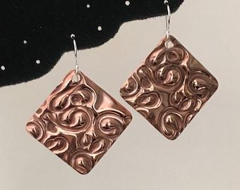 Embossed Copper Earrings, Diamond Shape, on Sterling Silver Ear Wires