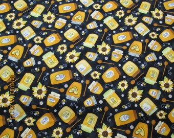 BUMBLE BEES and Honey Jars Background   pattern  1/2  Yard Piece - 100% Cotton Timeless Treasures