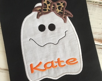 Ghost Bow Halloween Fall Applique Embroidery Design 5x7 6x10 8x12