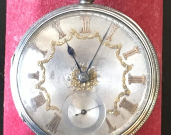 Antique solid Silver FUSEE Pocket Watch With key London 1863 John Hammon