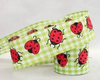 "Ladybug Green Gingham Edge Ribbon - 3 Yards Wire Ribbon, Ribbon for Wreaths, Gift Wrap Ribbon, Spring Ribbon, 1.5"" wide ribbon"