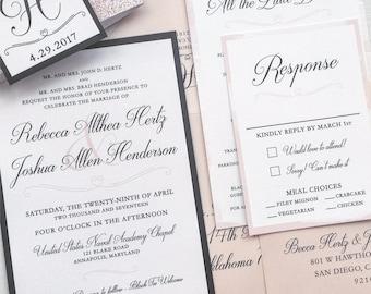 Blush Wedding Invitation Suite - Sample   Monogram Wedding Invitation   Blush and Navy Wedding Invitation