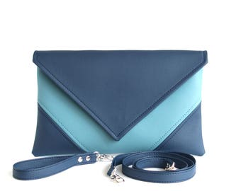 Blue Clutch Purse Wristlet Clutch Bag Envelope Clutch Wallet Vegan Leather Handbag Blue Crossbody Bag Faux Leather Clutch Cross Body Purse