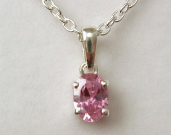 Genuine SOLID 925 STERLING SILVER October Birthstone Tourmaline Pendant
