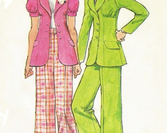 1970s Womens Unlined Jacket and Cuffed Wide Leg Pants Simplicity Sewing Pattern 5642 UnCut Size 16 Bust 38 Vintage 70s Sewing Patterns