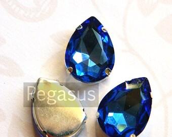 Sapphire Blue Glass crystal tear drop gems (9 color options) flatback jewel for costume jewelry,elven cosplay,wedding favors,dragon larp