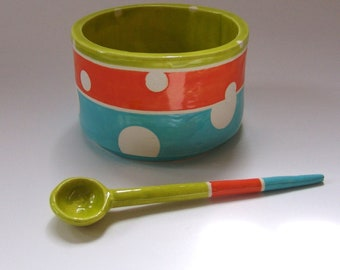 whimsical pottery Serving Bowl w/ handmade ceramic spoon turquoise, orange & chartreuse polka-dots, salt dish, condiment dish, sugar bowl