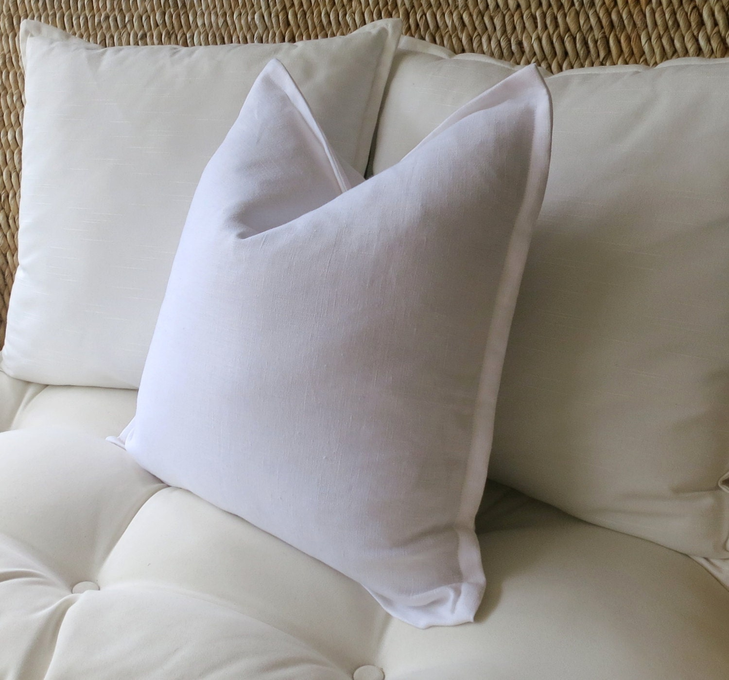 White Linen Pillow Cover Flange Edge Pillow Linen Pillow