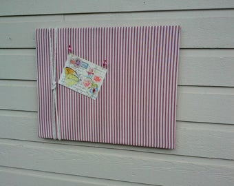 Linen Ticking Pin Board, Bulletin Board, made with a Red and White ticking linen with a cotton cord knotted detail, Nautical cabin decor