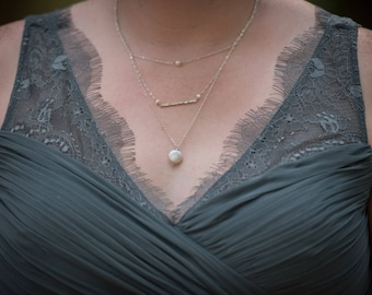 Bridesmaids Jewelry - Layering Necklace - Pearl and Sterling Silver - Chain Multi Strand Necklace - Wedding Jewelry