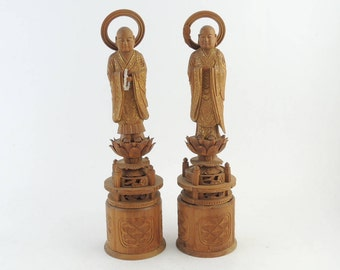 Pair of vintage Japanese Buddhist Monk Statue