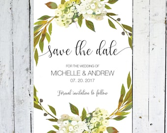 Save The Date Cards, Floral, Postcard, Greenery, Watercolor, Save The Date, Wreath, Printed, Printable, White Flowers, Floral