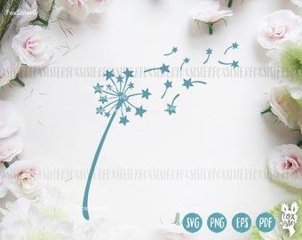 Dandelion SVG Papercut Template Stars | Svg For Cricut | Dandelion Vinyl Decal | Dandelion Clipart  | Star | Paper Cut file | for Cricut