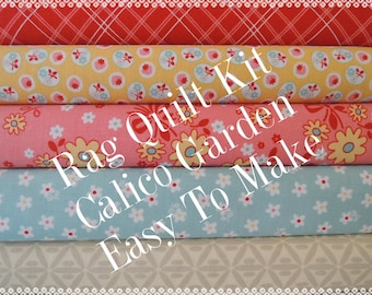 Calico Garden, Kit 3, Easy Rag Quilt Kit Personalized, Bin G, Optional Sewing Available