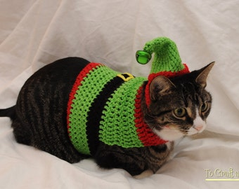 Crochet Elf Cat Sweater- Ugly Christmas Sweater for Cats- Holiday cat sweater- Clothes for cats