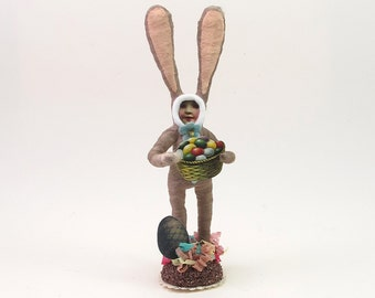 Vintage Inspired Spun Cotton Easter Bunny Rabbit Boy Figure (MADE TO ORDER)