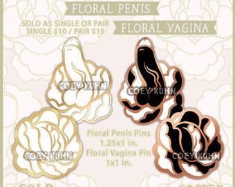 Coey: Floral Penis and Vagina (Enamel Pins)