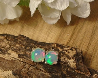 Ethiopian Fire Opal Stud Earrings, Sterling Silver, .65 to .70 Cts Big 1/4 inch Round 6.00 mm Rainbow Play Natural Ethiopian Fire Opal, Stud