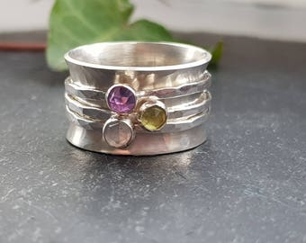 Hallmarked Sterling Silver Ring, Gemstone Spinner Ring, February Gift for Her, Wide Silver Ring, Spinner Fidget Worry Ring For Women,