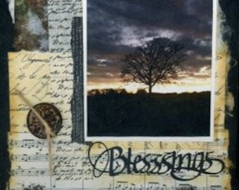 """canvas art """"Blessings"""" mixed media collage, country decor, wall art, paper and paint, tree collage"""