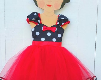 red  MINNIE MOUSE  dress Tutu  Party Dress  in pink mint fuchsia purple  Polka Dots super twirly  dress 1st Birthday party style PD100