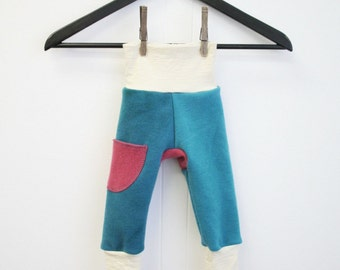 harem LONGIES - small wool diaper cover pants 1 to 6 months - nappy cover for fitted cloth diapers - hand dyed interlock