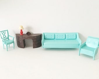 Doll Furniture Couch dollhouse furniture plastic 1960s Miniatures Renwal Lamp MPC Couch Chair