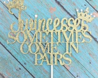 Twincesses sometimes come in pairs, Twins, Twins Baby Shower, Princess, Crowns, Glitter,Baby shower decorations,Rhinestones and glitter,1-Ct
