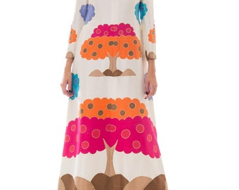 1970s Boho Colorful Hand Painted Tree Print Silk Maxi Gown Size: S-M
