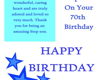 Step Son 70 Birthday Card with removable laminate