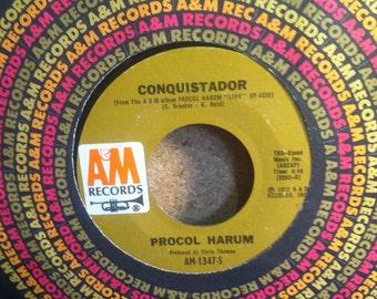 Procol Harum Conquistador b/w A Salty Dog Vinyl Rock 45 rpm Record