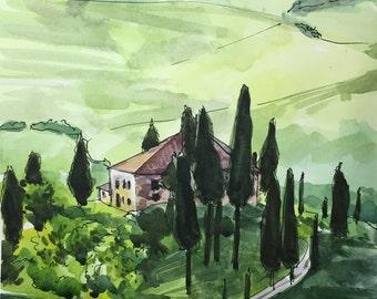 """Tuscany painting, Italy wall art, tuscan wall decor, Italian Watercolor Painting, Watercolors paintings original, Tuscany, Italy 9""""x12"""""""