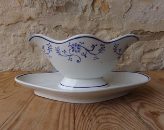 Hand painted French vintage ironstone sauciere, gravy boat in  by prestious maker St Amand & Hamage.