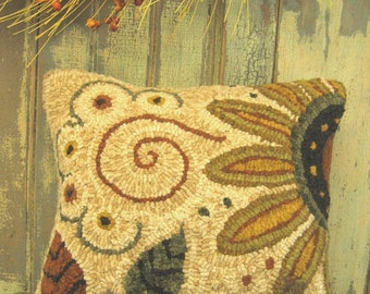 Sassy Sunflower Hooked Rug Paper Pattern~by Cathy G~Red House Wool Studio
