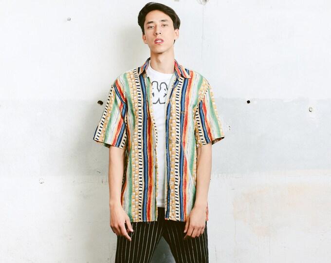 Bold Men 90s Shirt . 90s Vintage Men's Short Sleeve Abstract Print Shirt Patterned 90s Shirt Colorful Vacation Shirt . size Medium M