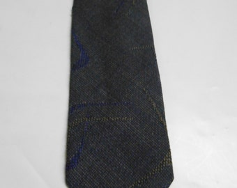 Carson Pirie Scott Purple and Gray Abstract Skinny Necktie 1980's