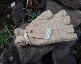 Half finger gloves wool mix, Hand Knitted fingerless gloves.