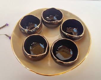 Handmade Black Ceramic Bowls, Serving Bowl Set of 5, Stoneware Bowl, Big Ceramic Plate, Pottery Tray, Black Dish, Wedding Gift, Ceramic Gift