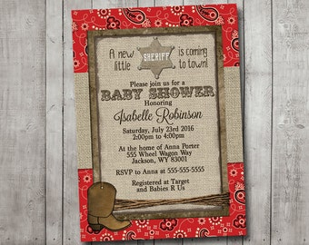 Boy Baby Shower Invitation Cowboy Western Sheriff Burlap Rustic Red Bandana Printable Digital I Customize For You