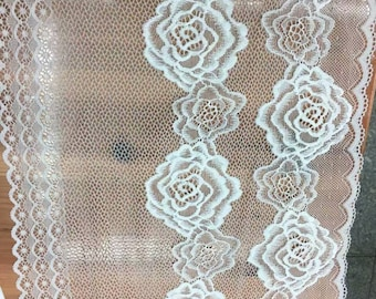 off white rose wedding lace,Stretch Lace Trim - Extra Wide Lace Trim, Wide Lace Trim- off white lace