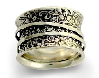 Hochzeitsband, breit Silber Ring, Spinner Ring, Silber filigran Ring, Breitband in Silber, oxidiert Silber Ring - ein Weg des Lebens 2. R1209AS