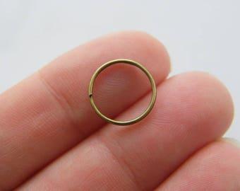 300 Split rings 12mm antique bronze tone FS414