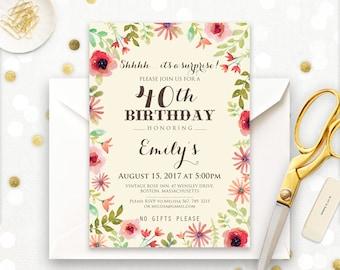 Spring invitations etsy surprise birthday invitations stopboris Gallery