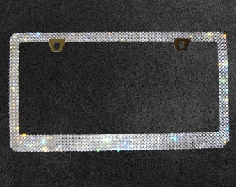 Crystal License Plate Frame made with Swarovski Crystal Rhinestones, Car Swag, Bling Car Accessories