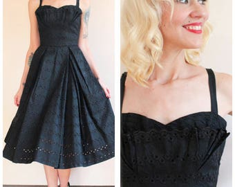 1950s Dress // Carlye Eyelet Party Dress // vintage 50s dress